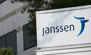 A logo sign outside of facility occupied by Janssen Pharmaceuticals, a subsidiary of Johnson & Johnson, in Somerville, New Jersey on May 31, 2015. Photo Credit: Kristoffer Tripplaar/ Sipa USA *** Please Use Credit from Credit Field ***